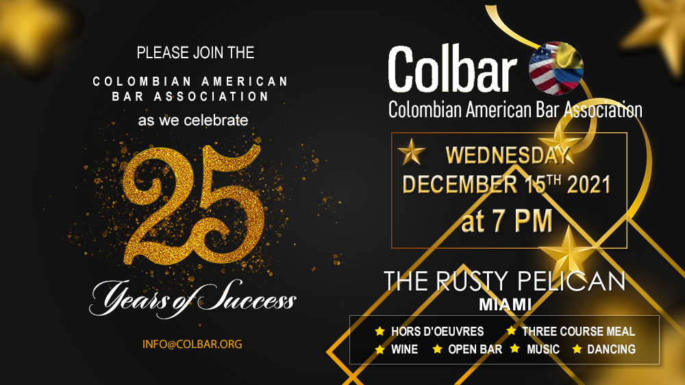 COLBAR 25th Anniversary Gala!  December 15, 2021 at 7:00 PM The Rusty Pelican